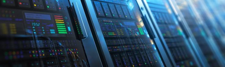 blue server image with lights
