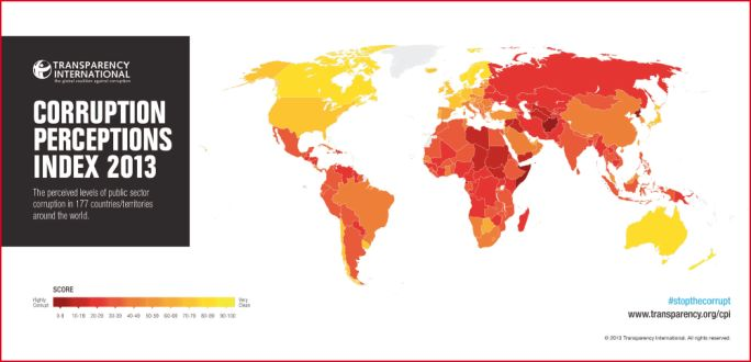 Weltkarte Corruption Perception Index 2013