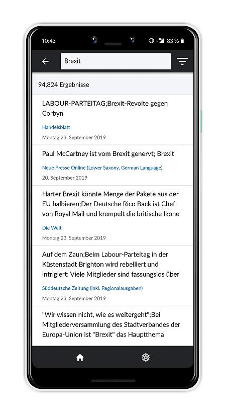 Sehen Sie die Suchergebnisse in der Nexis News Search App