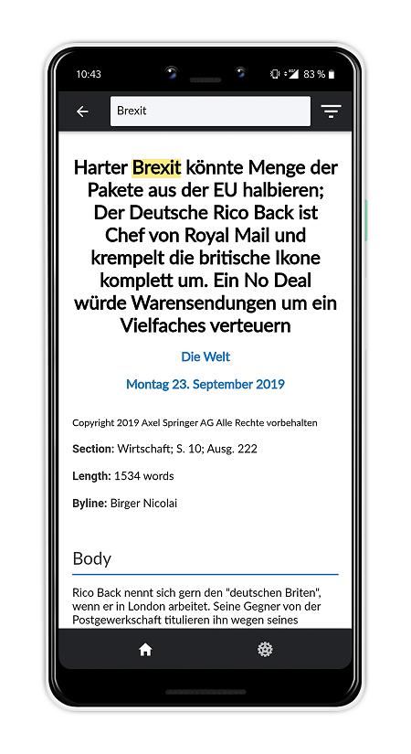Ergebnisse werden in der Nexis News Search App im Volltext angezeigt