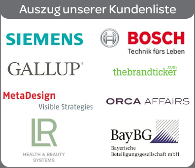 Referenzen: Bosch, ORCA Affairs, BayBG, TheBrandTicker, Gallup, LR Health & Beauty, Metadesign