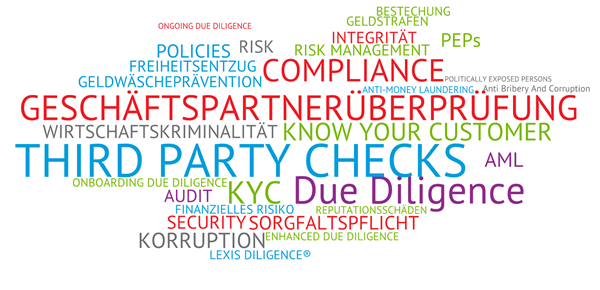 Due Diligence Wordcloud | Geschäftspartnerüberprüfung, Third Party Checks, KYC, Geldwäscheprävention
